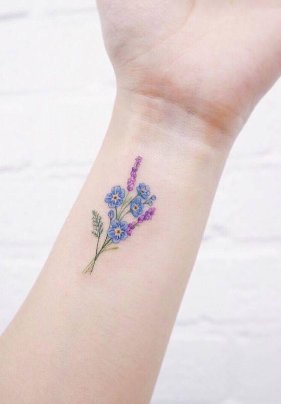 hình xăm hoa lavender